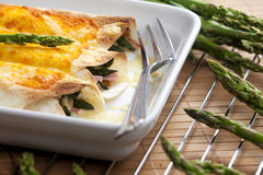 Baked tortillas. With green asparagus and ham Royalty Free Stock Photography