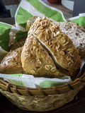 Baked traditional bread in a wicker basket Royalty Free Stock Photos