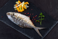 Baked Trevally Fish Royalty Free Stock Image