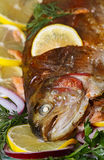 Baked trout. Royalty Free Stock Images