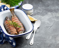 Baked trout Stock Photos