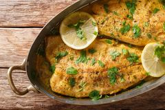 Baked trout fish with garlic lemon butter sauce, parsley closeup. In a copper frying pan on a table. horizontal top view from above stock images