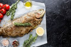 Baked trout fish. With salt, lemon and rosemary on paper over black background royalty free stock images