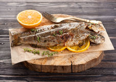 Baked trout fish. With thyme and orange royalty free stock photo