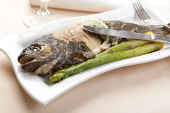 Baked trout with lemon and asparagus Stock Photography
