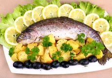 Baked trout with potatoes, black olives, lemon and salad Royalty Free Stock Image