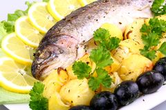 Baked trout with potatoes, olives, lemon and salad Stock Images