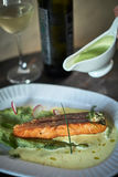 Baked trout with sauce and broccoli Royalty Free Stock Photo
