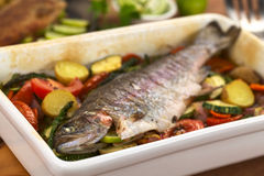Baked Trout with Vegetables Royalty Free Stock Images