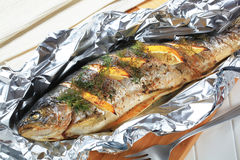 Baked Trout With Lemon And Dill Royalty Free Stock Images