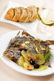 Baked turbot royalty free stock photography