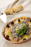 Baked turbot Stock Images