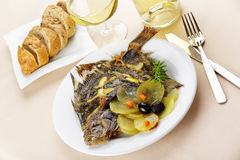 Baked turbot Stock Photos
