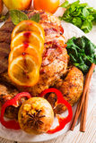 Baked turkey with chestnut filling Stock Images