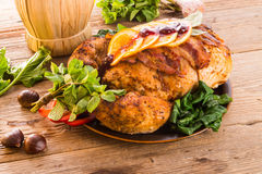 Baked turkey with chestnut filling Stock Photos