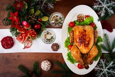 Baked turkey or chicken royalty free stock images