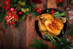 Baked turkey or chicken Royalty Free Stock Photography