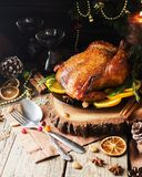 Baked turkey for Christmas or New Year space for text royalty free stock image