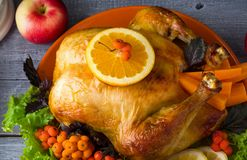 Baked Turkey for family Christmas dinner. royalty free stock photography