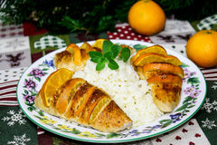 Baked turkey fillet with clementines Royalty Free Stock Images