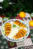 Baked turkey fillet with clementines, rice and oregan Royalty Free Stock Images