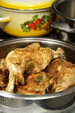 Baked Turkey Leg. Baking Turkey legs and thighs in a metal pot Royalty Free Stock Photography