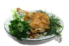 Baked Turkey Leg. On a plate with white background Royalty Free Stock Image