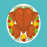 Baked turkey top view. Festive food for Thanksgiving. Chicken on Royalty Free Stock Photos
