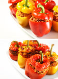 Baked and unbaked peppers comparison Stock Photos