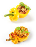 Baked and unbaked yellow peppers comparison Royalty Free Stock Photography