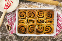 Baked and unglazed cinnamon rolls. above Royalty Free Stock Image