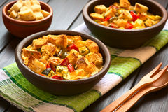 Baked Vegetable Bread Pudding Stock Photography