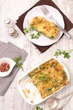 Vegetable gratin. Baked vegetable gratin, top view Royalty Free Stock Photo