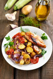 Baked vegetables and chicken meat Royalty Free Stock Photography