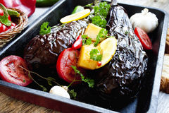 Baked vegetables with eggplants and spices Royalty Free Stock Photos