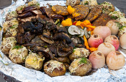Baked vegetables / fruits platter Stock Photography