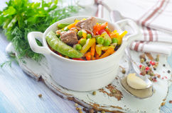 Baked vegetables. With meat in bowl Stock Images