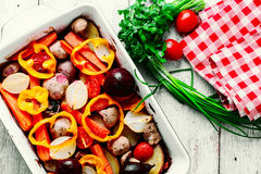 Baked vegetables from the oven royalty free stock photography