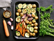 Baked vegetables, top view Royalty Free Stock Photos