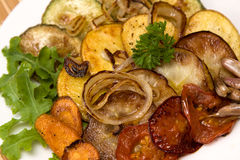 Baked vegetables. Vegetarian food Stock Photos