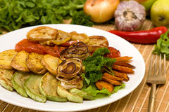 Baked vegetables. Vegetarian food Royalty Free Stock Photography