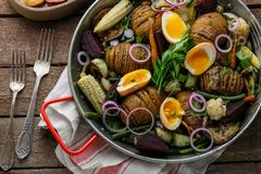 Baked vegetabless in a pan, close view royalty free stock images
