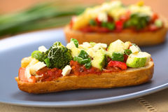 Baked Vegetarian Open Sandwich Royalty Free Stock Photos