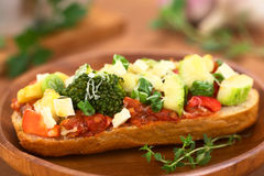Baked Vegetarian Open Sandwich Stock Images