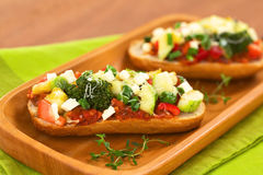 Baked vegetarian open sandwich Stock Photography