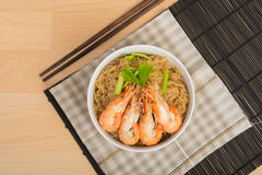 Baked vermicelli with shrimp in wood dish Royalty Free Stock Images