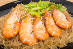 Baked Vermicelli With Shrimp In Wood Dish Stock Photos