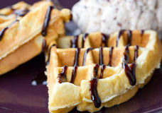 Baked Waffle With Ice Cream. Royalty Free Stock Images