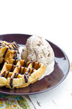 Baked Waffle With Ice Cream. Stock Photos