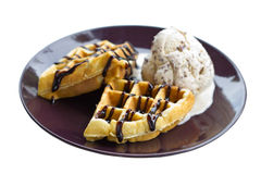 Baked Waffle With Ice Cream. Royalty Free Stock Photography